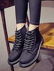 Недорогие -Жен. Обувь Полиуретан Зима Осень Удобная обувь Ботинки На низком каблуке Закрытый мыс Ботинки для Повседневные на открытом воздухе Черный