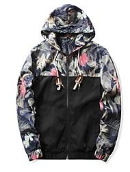 cheap -Men's Sports Punk & Gothic Plus Size Jacket-Color Block Plaid Hooded