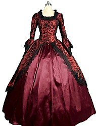 cheap -Victorian Rococo Costume Women's Adults' Dress Red Vintage Cosplay Flocking Reasonable 3/4 Length Sleeves Puff/Balloon