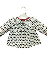 cheap -Baby Girls' Daily Polka Dot Shirt, Cotton Cute Casual Active Long Sleeves White