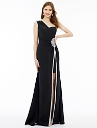 cheap -Sheath / Column One Shoulder Floor Length Jersey Formal Evening Dress with Split Front Crystal Brooch by TS Couture®