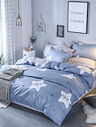 cheap -Duvet Cover Sets Contemporary 4 Piece Poly/Cotton Reactive Print Poly/Cotton 4pcs (1 Duvet Cover, 1 Flat Sheet, 2 Shams)