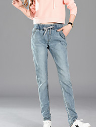 cheap -Women's Cotton Jeans Pants - Solid Colored High Rise