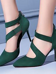 preiswerte -Damen Schuhe Nappaleder / PU Frühling Komfort High Heels Stöckelabsatz Spitze Zehe / Geschlossene Spitze Mittelhohe Stiefel Schwarz / Grün