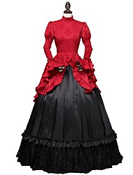 abordables -Rococo Victorien Costume Femme Adulte Robes Rouge + noir. Vintage Cosplay Tissu Dobby Manches Longues Gigot / Ballon Longueur Cheville