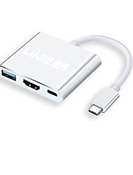preiswerte -LUJIE HDMI 2.0 USB 3.0 USB 2.0 Typ C Adapterkabel, HDMI 2.0 USB 3.0 USB 2.0 Typ C to USB 3.1 Typ C Adapterkabel Male - Female 4K*2K 0,18