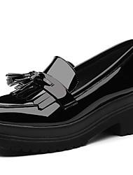 abordables -Femme Chaussures Cuir Verni Printemps / Automne Gladiateur Mocassins et Chaussons+D6148 Creepers Bout rond Noir / Vin