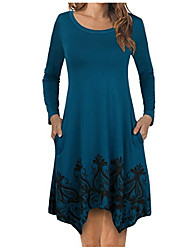 cheap -Women's Daily Casual A Line Dress,Print Round Neck Asymmetrical Long Sleeve Polyester Fall Mid Rise Micro-elastic Opaque