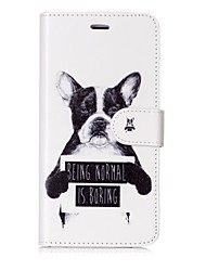 cheap -Case For Apple iPhone X iPhone 8 Card Holder Wallet Flip Magnetic Pattern Full Body Cases Dog Word / Phrase Hard PU Leather for iPhone X