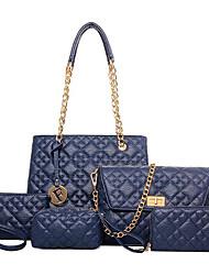 cheap -Women's Bags PU Bag Set 5 Pieces Purse Set Zipper for Casual Outdoor Winter Fall Blue Champagne Black Fuchsia
