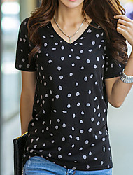 preiswerte -Damen Punkt Grundlegend Alltag T-shirt V-Ausschnitt Kurzarm Baumwolle Sommer Schwarz Grau S M L XL XXL