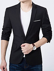 cheap -Daily Casual Spring Fall Regular Blazer, Solid Peaked Lapel Polyester