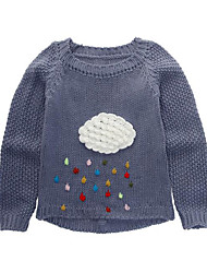 cheap -Girls' Patchwork Sweater & Cardigan,Rayon Spring Fall Long Sleeve Simple Cute Gray Red