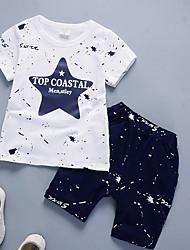 Недорогие -Дети (1-4 лет) Мальчики На каждый день Повседневные Однотонный / Горошек Длинный рукав Обычная Хлопок / Бамбуковая ткань Набор одежды Темно синий