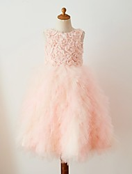 cheap -Ball Gown Knee Length Flower Girl Dress - Tulle Sleeveless Jewel Neck with Lace by LAN TING Express