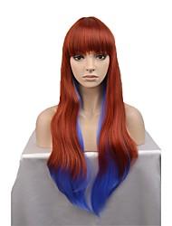 Недорогие -Парики из искусственных волос Естественные волны Искусственные волосы Синий Парик Жен. Длинные Без шапочки-основы Оранжевый / белый / синий
