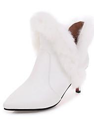 Недорогие -Жен. Обувь Дерматин Осень / Зима Модная обувь Ботинки На шпильке Ботинки Белый / Черный / Красный