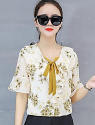 Недорогие -женская полиэфирная свободная блузка - цветочная, печать