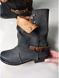baratos -Mulheres Sapatos Couro Ecológico Inverno Outono Coturnos Botas Salto Robusto Ponta Redonda 5,08 a 10,16 cm para Casual Preto Cinzento