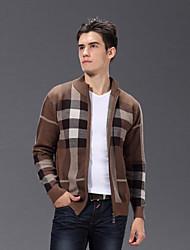 economico -Per uomo Casual Manica lunga Cardigan Monocolore Colletto alla coreana