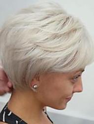 economico -Parrucche senza cappuccio per capelli umani Cappelli veri Ondulato naturale Taglio scalato / Short Hairstyles 2019 Stile Parte laterale A macchina Parrucca Per donna