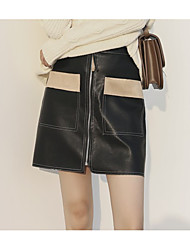 cheap -Women's Work Street chic A Line Skirts - Color Block