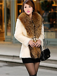 economico -Cappotto di pelliccia Per donna Tinta unita, A V
