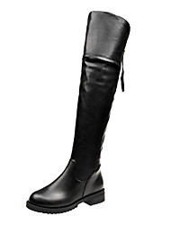 cheap -Women's Shoes PU Winter Fall Comfort Boots Flat Knee High Boots for Casual Office & Career Black