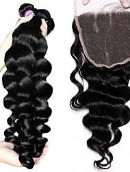 Недорогие -Бразильские волосы Свободные волны Не подвергавшиеся окрашиванию Волосы Уток с закрытием 3 комплекта с закрытием Ткет человеческих волос Расширения человеческих волос