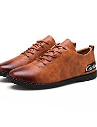 Недорогие -Муж. обувь Кожа Наппа Leather Весна Осень Удобная обувь Кеды для Повседневные Черный Серый Коричневый