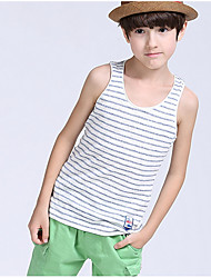 cheap -Boys' Striped Tank & Cami, Cotton Summer Sleeveless Simple Orange Red Blushing Pink Navy Blue Fuchsia