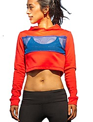 cheap -Women's Running Shirt - Red Sports Hoodie / Sweatshirt / Top Yoga, Fitness, Gym Long Sleeve Activewear Breathability Inelastic
