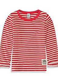 cheap -Girls' Striped Tee, Cotton Spring Long Sleeves Simple Blue Green Orange Red Navy Blue