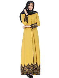 cheap -Women's Cotton Jalabiyah Abaya Dress - Solid Colored Lace Maxi Shirt Collar