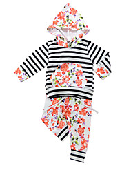 cheap -Girls' Daily Striped Floral Clothing Set,Cotton All Season Spring Long Sleeve Cute Casual Orange