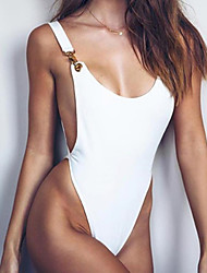 Недорогие -Жен. Однотонный Закрытый купальник Купальники Секси На бретелях Белый Черный