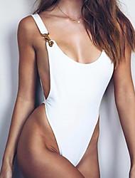 cheap -Women's Solid Sexy Strap One-piece Swimwear White Black
