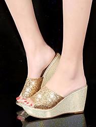 preiswerte -Damen Schuhe Paillette PU Frühling Sommer Komfort Sandalen Keilabsatz für Normal Gold Schwarz Silber