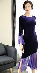 Для женщин Для вечеринок Секси Оболочка Платье Однотонный,Вырез лодочкой Средней длины 3/4 рукава Полиэстер Весна Со стандартной талией
