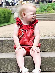 abordables -bébé Une-Pièce Fille Quotidien Couleur Pleine Coton Lin Fibre de bambou Acrylique Printemps Sans Manches simple Rétro Rouge