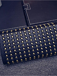 cheap -Women's Bags PU Wallet Beading Buttons for Casual All Seasons Black Gray