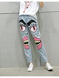 cheap -Women's Cotton Jeans Pants Print