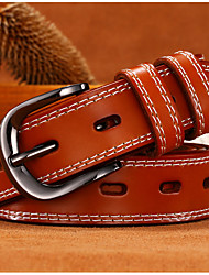 cheap -Women's Leather Alloy Waist Belt,Wine Camel Black White Brown Casual