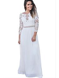 cheap -Women's Casual Silk Swing Dress - Solid Colored High Rise Maxi / Fall
