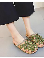 preiswerte -Damen Schuhe PU Nappaleder Sommer Komfort Slippers & Flip-Flops Flacher Absatz Geschlossene Spitze für Draussen Beige Khaki