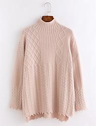 Недорогие -Жен. Однотонный На каждый день Вязаная ткань Пуловер, Повседневные Длинный рукав Воротник-стойка Зима Осень
