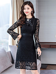 cheap -Women's Lace Dress - Solid Patchwork High Waist