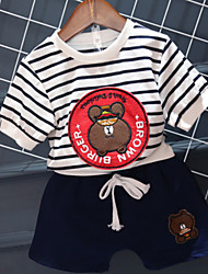 cheap -Boys' Daily Striped Cartoon Clothing Set, Cotton Summer Long Sleeves Red Navy Blue