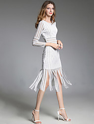 cheap -Women's Party Sexy Bodycon Lace DressStriped Round Neck Midi Long Sleeve Cotton Polyester Nylon Spring Mid Waist Micro-elastic Opaque