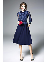cheap -Women's Party Going out Cute Sheath Midi Dress,Solid Round Neck 3/4 Sleeve Spring Fall High Waist